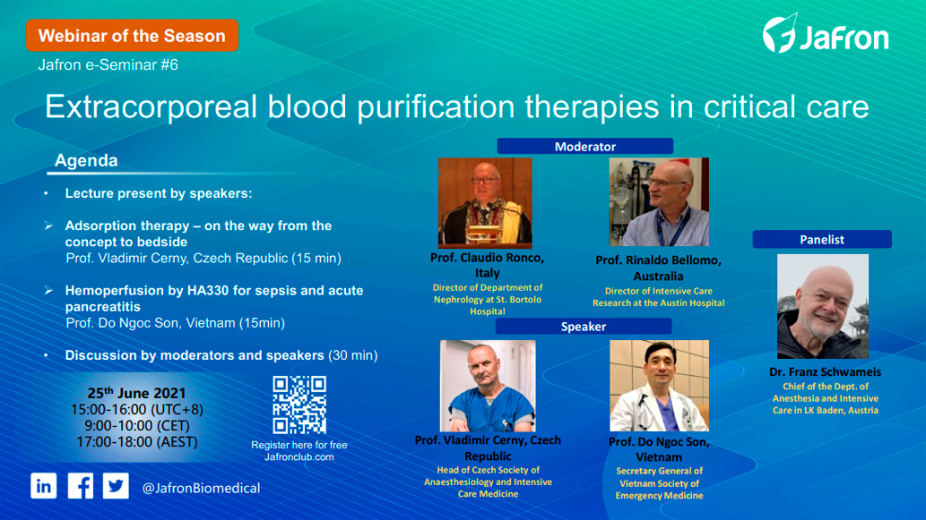 Анонс. E-Seminar №6 «Extracorporeal blood purification therapies in critical care»